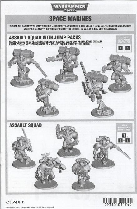 Space Marine Assault Squad Assembly Quick Reference Rules Pamphlet
